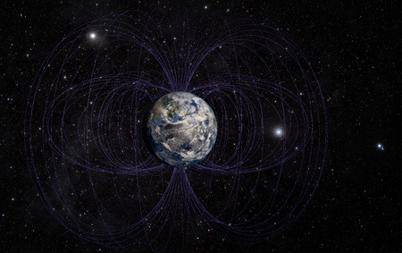magnetic: 3D rendering of Planet Earths magnetic field.
