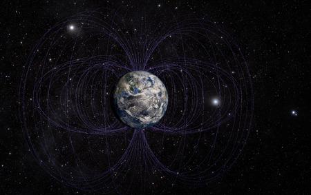 3D-Rendering von Magnetfeld der Planet Erde.