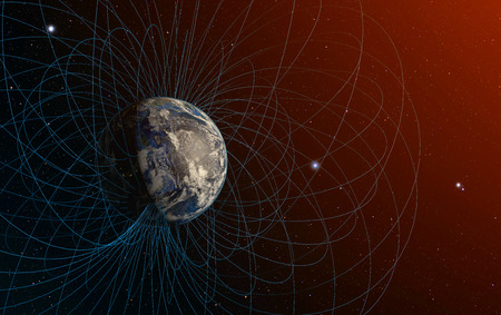 magnetic field: 3D rendering of Planet Earths magnetic field.