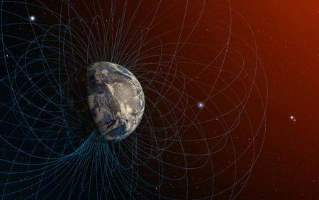 3D-Rendering von Magnetfeld der Planet Erde. Standard-Bild