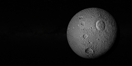 enceladus: Tethys or Saturn III, mid-sized moon of Saturn on space bacground mid-sized moon of Saturn. 3d rendering.