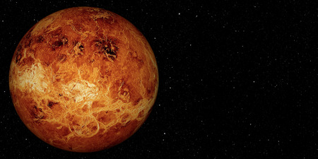 3D render the planet Venus on a space background, high resolution. Foto de archivo