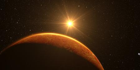 venus: Venus. Cinematic and very realistic sunrise seen from space on venus, 3d rendering. Stock Photo