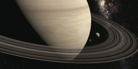 planet saturn with rings on the space background Foto de archivo