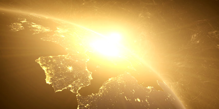 Yellow sunrise, sunburst, future earth seen froom space, yellow glow effect. 3D render.