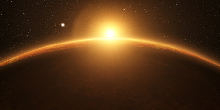 Venus. Cinematic and very realistic sunrise seen from space on venus, 3d rendering. Foto de archivo