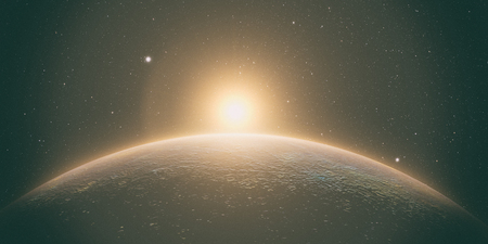 planet mercury with sunrise on the space background, 3d render.