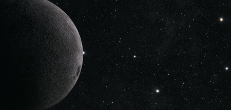 raytrace: A computer graphic rendering of the Moon. 3D rendering. Stock Photo