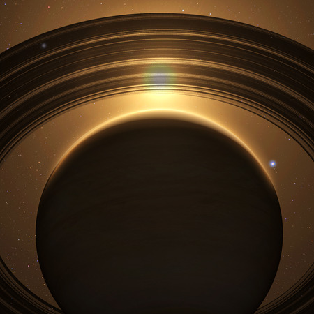 planet Saturn with rings at sunrise on the space background. 3D render.