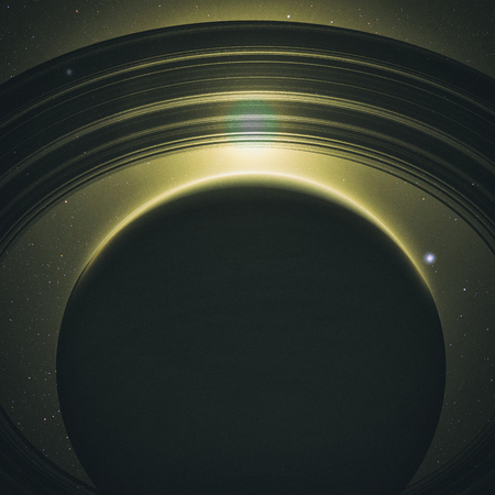 red sunset: planet Saturn with rings at sunrise on the space background. 3D render.