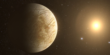 europa: A rendered Image of the Jupiter Moon Europa on a starry background. Stock Photo