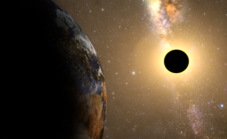 premonition: sun eclipse,full sun eclipse with Abstract scientific background