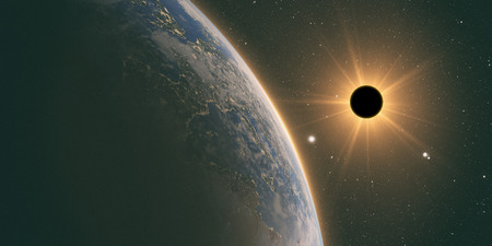 portent: sun eclipse,full sun eclipse with Abstract scientific background