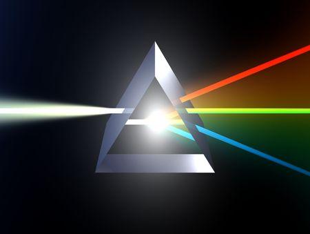 Glass prism splitting white light beam into three primary colours