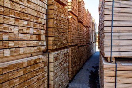 Pallets  wooden bars, a large warehouse  boards.