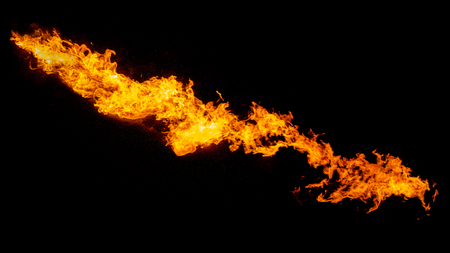 Dragon breathing flame, fire stream isolated on black Stock Photo
