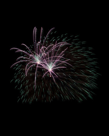 Sparks of firework explosion isolated on black Imagens