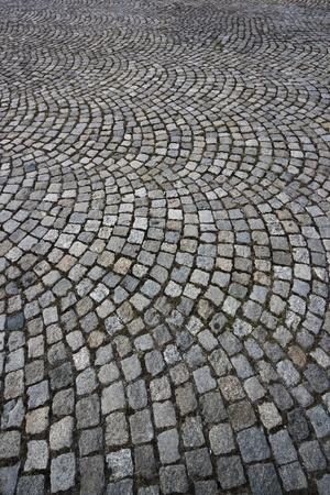 empedrado: Pavimento de granito. Impresionante vista de gran angular. Fondo. patr�n. Foto de archivo