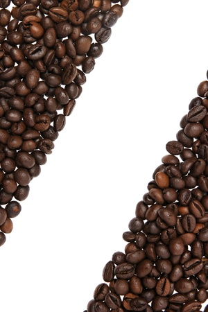 Coffee beans border isolated on white background photo