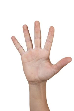 Jongen de hand geïsoleerd op witte achtergrond met vijf vingers Stockfoto