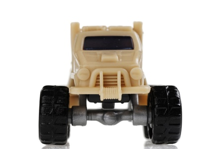 infantryman: Scale Model toy jeep. isolated on white background Stock Photo