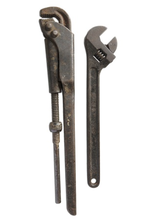 pipe wrench tools. isolated on white background photo