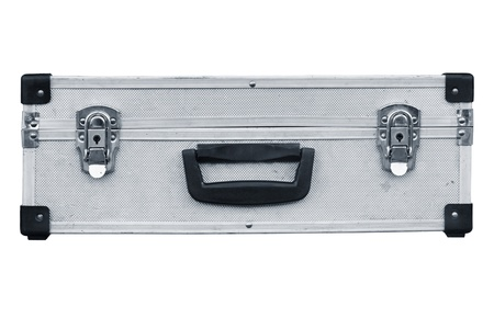Used aluminum suitcase. Isolated white background.