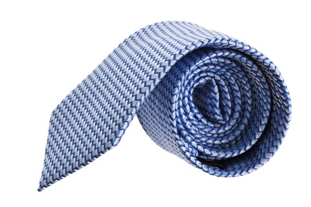 windsor: closeup of blue tie on spyral, isolated on white background Stock Photo