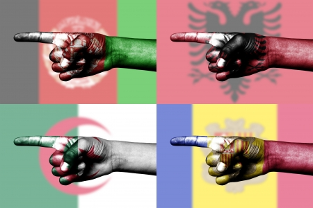 set pointing finger in national flag of Afganistan, albania, Algeria and Andora Stock Photo - 14061392