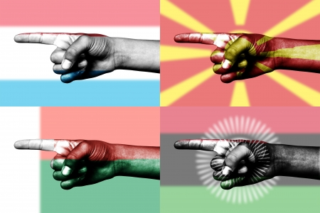 set of pointing finger in national flags of Madagascar, Malawi, Luxemburg and Macedonia Stock Photo - 14061373