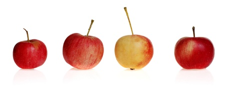 litle: four litle apples. isolated on white backgrounds Stock Photo