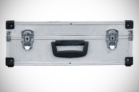 Used aluminum suitcase. Isolated white background. Stock Photo - 14468606