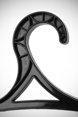 black hanger closeup  isolated on white background photo
