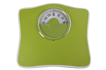 Green bathroom scale isolated in white Stock Photo