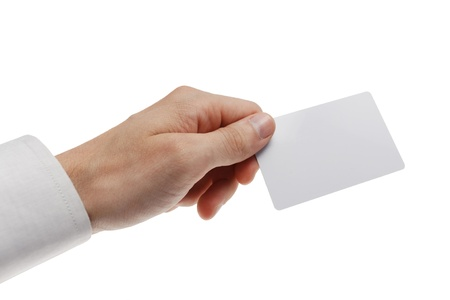 evoke: White plastic card in man hand  Isolated on white