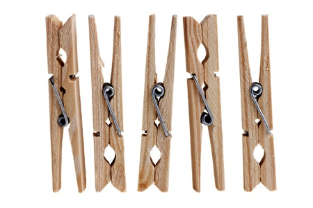 wooden clothes pins on white Stock Photo - 15936416