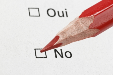 amendment: french questionnaire yes or not, extreme closeup photo