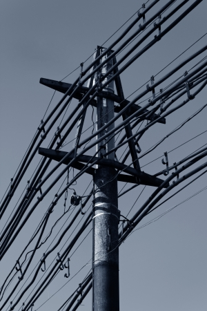 old electric pole with many powerlines Stock Photo - 16174671