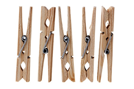 wooden clothes pins on white Stock Photo - 16292791