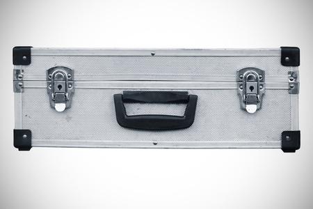 Used aluminum suitcase  Isolated white background Stock Photo - 16480590