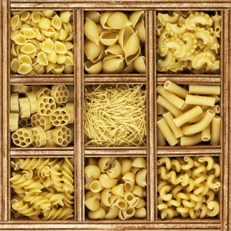different kinds of italian pasta in wooden box catalog   photo