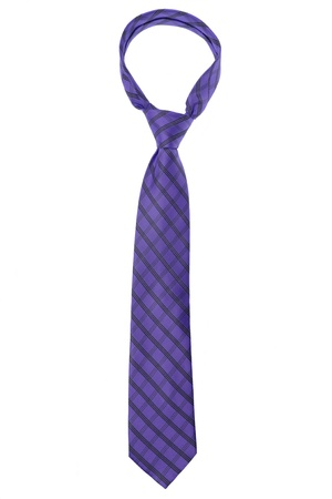 ironed: checked dark violet tie isolated on white background Stock Photo