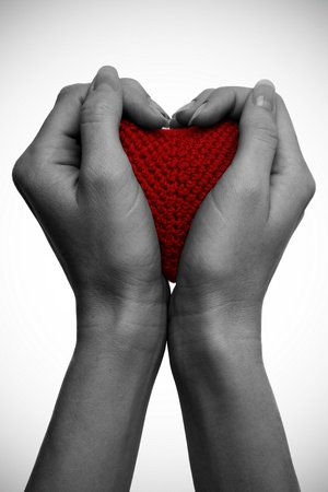 Two hand hold a red heart on white background photo