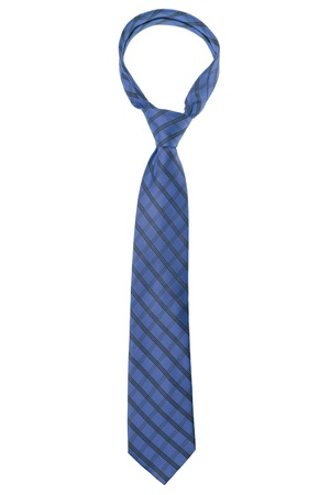 ironed: checked dark blue tie isolated on white background Stock Photo