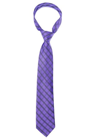 ironed: checked violet tie isolated on white background Stock Photo