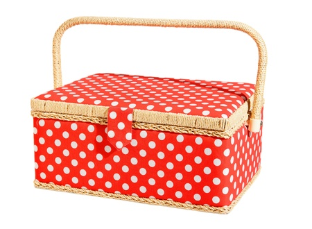 speckles: red and white speckles dotted basket