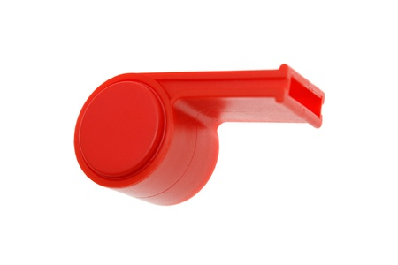 Red whistle. isolated on white