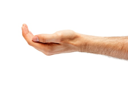 interdigital: Mans hand hollow.isolated on white background
