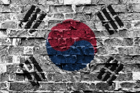 Flag of South Korea painted on brick wall