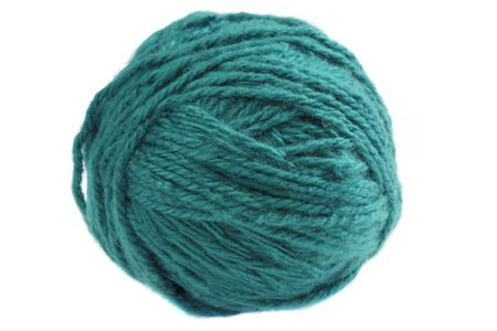 cadet blue: Ball of cadet  blue yarn isolated on white